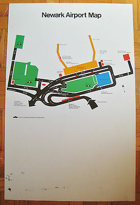 Vintage Newark Airport Map New Jersey Fiberboard Display Sign NJ