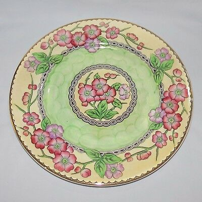 MALING ENGLAND LUSTRE MAY BLOOM GREEN PLATE c.1935