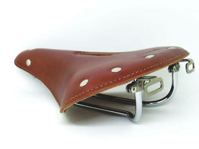 "GYES GS-122 Leather Saddle 265X210mm Cr-Mo Rail For City Classic Bike ""Brown"""