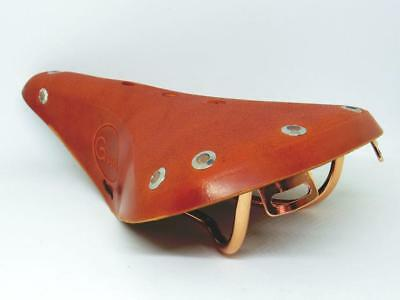"GYES GS-15CU Leather Saddle 280X170mm Copper Cr-Mo Rail For City  Bike ""Honey"""