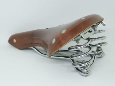 """GYES GS-16A Leather Saddle 280X170mm Steel Spring Cr-Mo Rail City  Bike """"Brown"""""""
