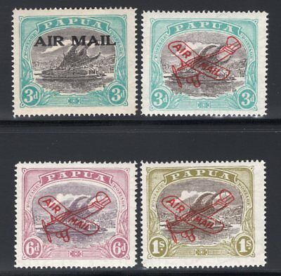 1929-30 Papua. SC#C1-C4 SG#112,118-20. Mint, Hinged/Never Hinged, Very Fine.