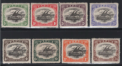 1910-11 Papua. SC#41-48 SG#75-82. Mint, Lightly Hinged, Very Fine.