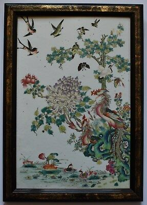 A fabulous antique Chinese famille rose porcelain plaque, 19th century