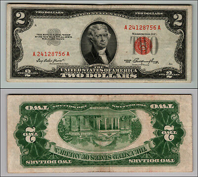 (1)-1953 $2 DOLLAR  United States Note Red Seal   LOT P908