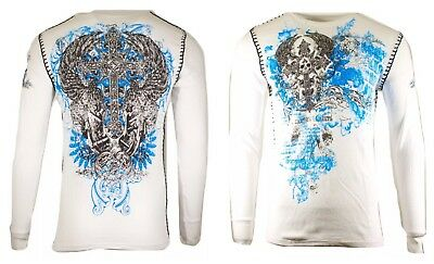 Archaic By AFFLICTION Mens THERMAL Long Sleeve ANTIQUO POLO BIKER UFC MMA M $58