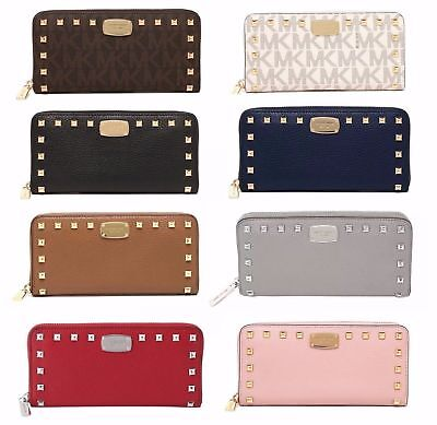 Michael Kors Jet Set Studded Continental Signature and Leather Zip Around Wallet
