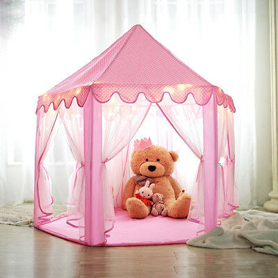 Children Hexagon Princess Castle Play Tents/Playhouse with Star Light Xmas