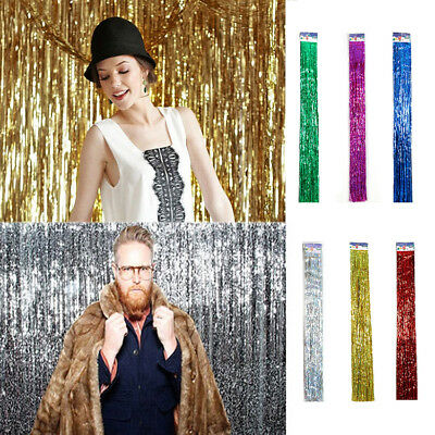 2X Metallic Fringe Curtain Party Foil Tinsel Home Party Decor Doorway Decoration
