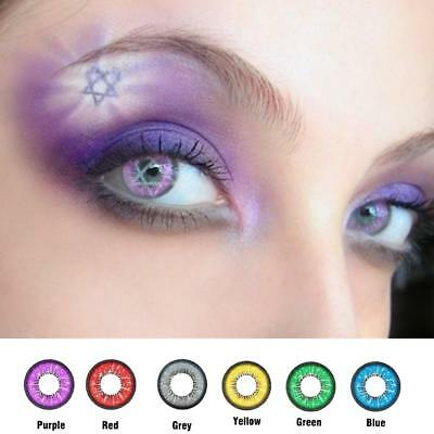 1 Pair Contact Lenses Color Soft Big Eye UV Protection Cosmetic Lenses red blue