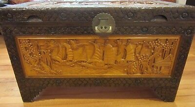 Vintage Chinese Camphor Chest Trunk Box (Sailing Theme)