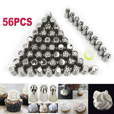 56pc Russian Tulip Flower Icing Piping Nozzles Cake Decoration Tips Baking Tools