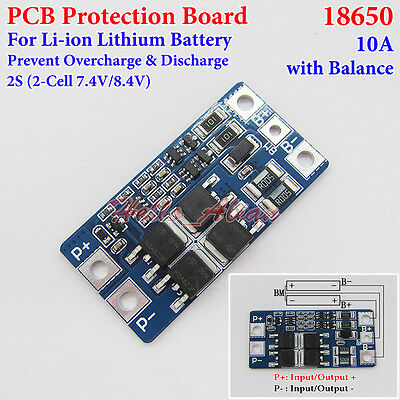 2S 10A Lithium Li-ion 18650 7.4V 8.4V Battery Packs Protection PCB Board Balance