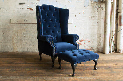 Modern Queen Anne Chesterfield Wing Arm Chair Navy Blue Plush Velvet & Footstool