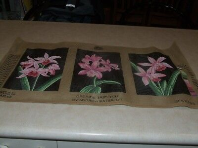 DMC Tapestry  - 3 Piece Set - Orchids Triptych by Andrew Patsalou - New