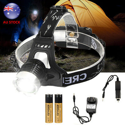 Rechargeable 10000Lm XM-T6 LED Headlamp Headlight Head Torch+18650+AC Charger AU
