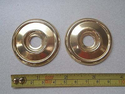 2 x 46 mm DIAMETER ANTIQUE STYLE BRASS FURNITURE / DOOR KNOB BACK PLATE / ROSES