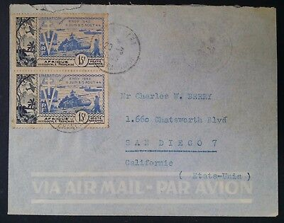 RARE 1955 French West Africa Airmail Cover ties 2 x 15c  stamps canc Siguiri