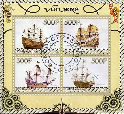 Congo 2015 CTO Tall Ships Ingermanland Roter Lowe 4v M/S Boats Ships Stamps