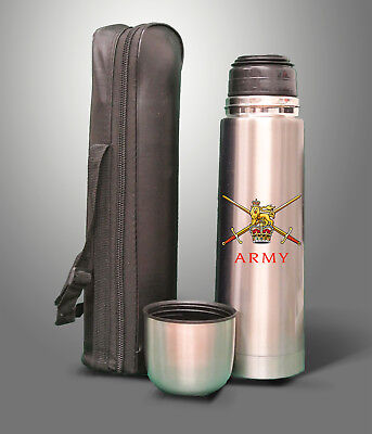 British Army 750ml Stainless Steel Flask with Faux Leather Carry Case