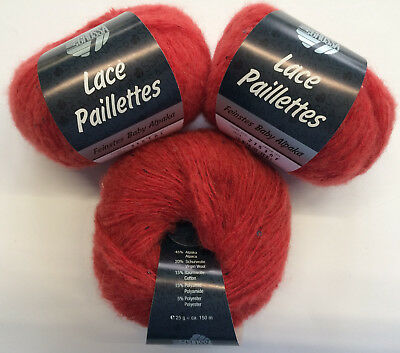 Wolle 75 gramm Lana Grossa Lace Paillettes Farbe 23 Rot 3 Knäuel a 25 gramm