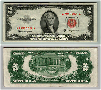 1953C $ 2 DOLLAR UNITED STATES NOTE RED SEAL $2 Two Dollar Bill  LOT J282