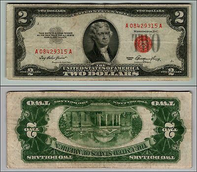 (1)-1953  Series United States Note Red Seal $2 Two Dollar Bill  LOT P702