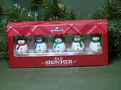 "Hallmark Ornaments ""Let it Snowmen!"" Set of 5 Sparkly Snowmen w/ Scarfs & Hats"