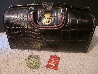 Vintage Upjohn Faux Alligator Leather Black Doctors Bag with Swiss Latch and Key