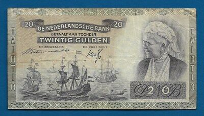 Netherlands 20 Gulden 1941 P-54 Queen Emma / Man of War WW2 Era Dutch Note