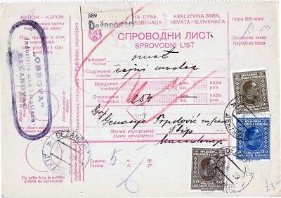 SHS - CONSIGNMENT CARD FOR PACKAGE POSTED FROM DEŽANOVAC TO ŠTIP on 05.02.1929