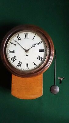 Antique L.m.s. 11541 Railway Clock With A Wire Driven Fusee Movement