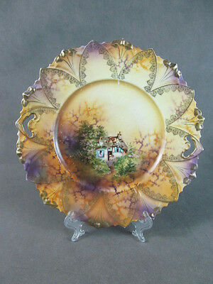 RS PRUSSIA Mold 93 CAKE PLATE~~Cottage Scene