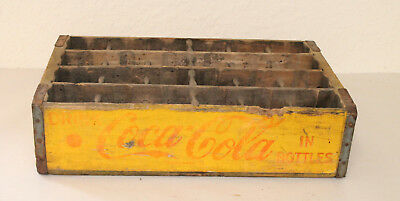 Vintage Original Yellow Wooden King Size Crate Caddy Carrier Advertising 24 Slot