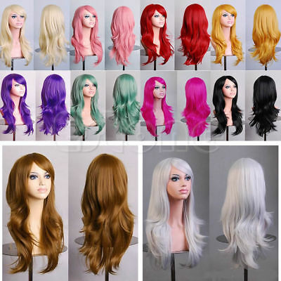 Women Long Hair Full Wig Curly Wavy Synthetic Anime Cosplay Wigs