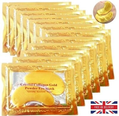 10 Pair Crystal Collagen 24k Gold Under Eye Gel Pad Eye Mask Anti Aging Wrinkle