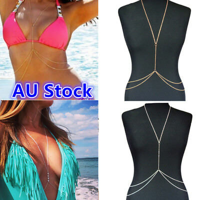 Women Body Chain Crystal Rhinestone Chest Harness Necklace Chains Bikini Jewelry