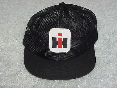 Ih International Harvester Logo Black All Mesh Summer Adult Ball Cap Hat New
