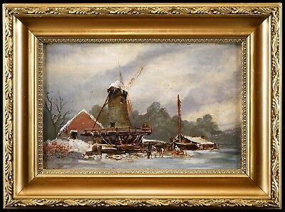 View of a Windmill, c1900 English School Winter Landscape Oil Painting, Art Gift