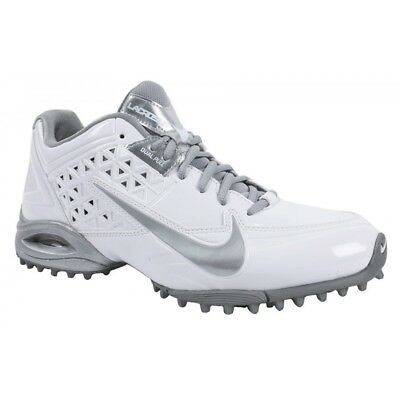 New Womens Nike Air SpeedLax 4 Lacrosse Turf Cleat White Silver 616301 Size 9 M