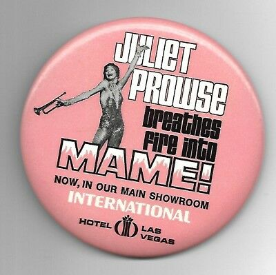 "Juliet Prowse Las Vegas Interntional Hotel  ""Mame"" Oversize 4"" Button w/Flyer"