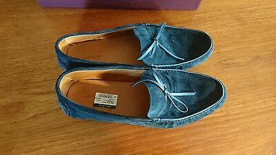 A Brand New @Look@Pair of hand made John Lobb Men's Slip on Blue suede Shoes