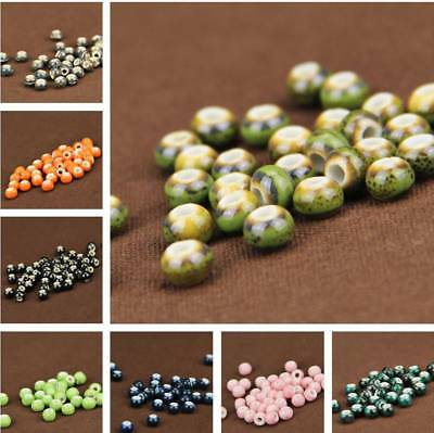 New 30pcs Multi-Color Ceramic Round Beads Loose Spacer Jewelry Making DIY 6mm