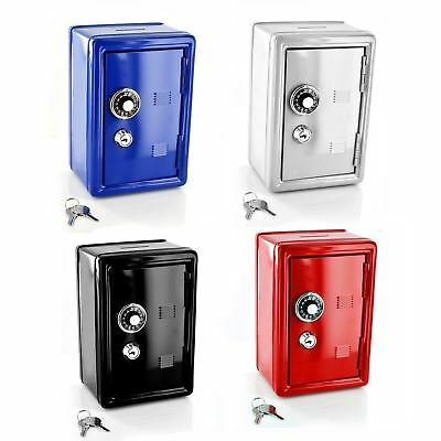 New Safe Security Metal Money Bank Cash Deposit Savings Saving Box 2 Keys