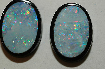 Beautiful matched pair of Australian Opal Doublet Cabochons 11.24 carats