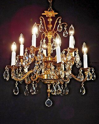 REGAL Antique French 2-Tier 10 Arm 10 Lite Cut Lead Crystal Prisms Chandelier