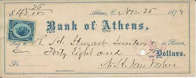 1878 Athens OH Bank of Athens R H Stewart, Secretary Check 2 Cent Stamp