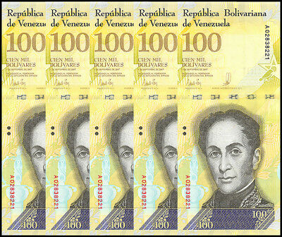 Venezuela 100,000 (100000) Bolivares X 5 Pieces (PCS), 2017, P-NEW, UNC
