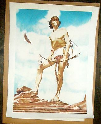 Native American Art Tribal Man with Bow & Arrow Signed Print Numbered 347/425