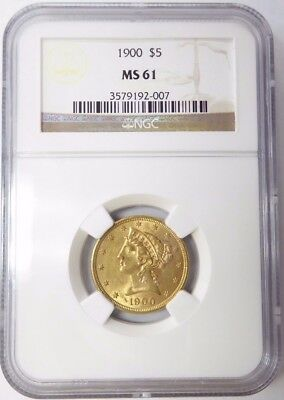 1900 $5 Liberty Head Gold Coin MS 61 NGC Certified * Half Eagle *